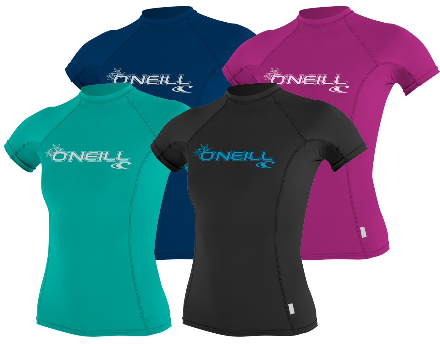 O'Neill Women's Basic 50+ Skins Short Sleeve Rash Guard, Deep Sea, Small by O'Neill Wetsuits