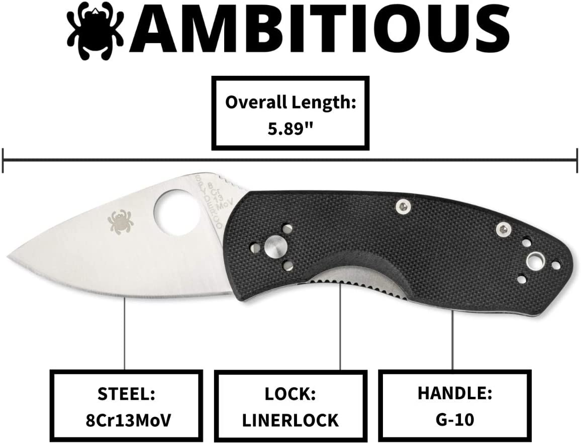 "Spyderco Ambitious Value Knife with 2.31"" Stainless Steel Blade"