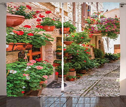 Tuscan Bedroom Decor (Ambesonne Tuscan Decor Curtains 2 Panel Set, Street View of a Small Renaissance Town with Floral Porches and Rock Houses Mediterranean Art, Living Room Bedroom Decor, 108 W X 84 L Inches, Multi)