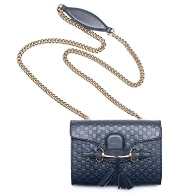 d4a7f0259 Gucci Micro Guccissima Margaux Navy Blue Leather Shoulder Handbag Bag New  Small