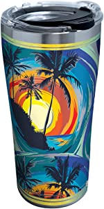 Tervis 1298267 Tropical Beach Insulated Tumbler with Clear and Black Hammer Lid, 20 oz Stainless Steel, Silver