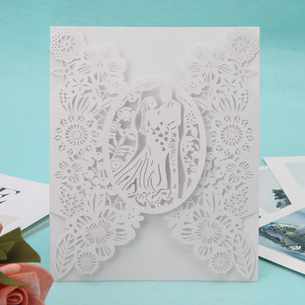 FlYHIGH 10pcs Cartes dinvitation de f/ête de Mariage pour Amoureux romantiques d/élicates Dentelle Creuse sculpt/ée