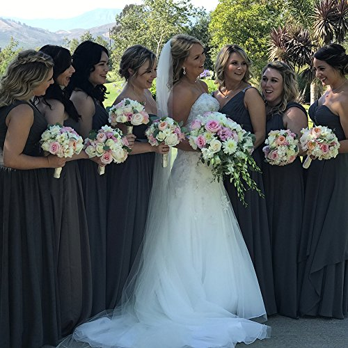Chiffon Rückenfrei Lang Salbei Abiball Kleider Abendkleider Neckholder Falten Ballkleider Hochzeit Brautjungfernkleider tgwIHt