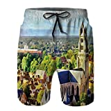 Men's Workout Shortsrial Photo of Old Medieval Church and Swimsuit Shorts