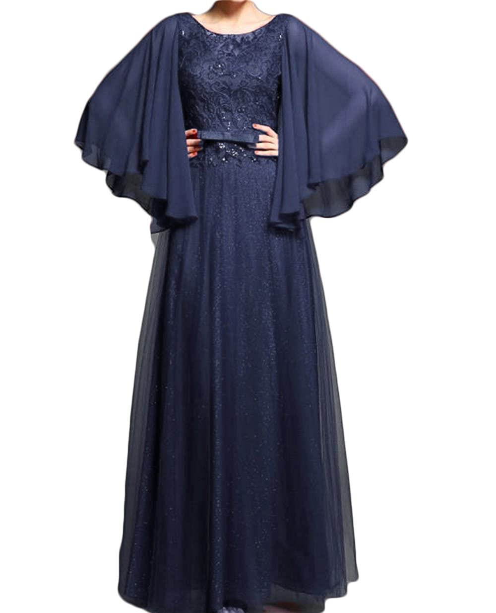 Navy bluee Dydsz Women's Evening Formal Dresses Prom Dress Long Sleeves A Line Backless D215