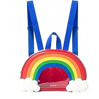 BeautyWJY Women's Transparent Backpack Mini Clear Rainbow Daypack Rucksack