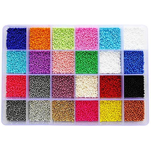 (BALABEAD Size Uniform Seed Beads 24000pcs in Box Opaque Color Seed Beads 24 Multicolor Assortment 12/0 Glass Craft Beads 2mm Seed Beads for Jewelry Making, Hole 0.6mm (1000pcs/Color, 24 Colors))