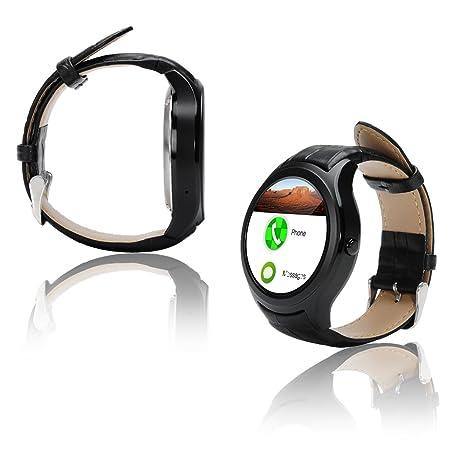 Indigi® A6 Bluetooth 4.0 Reloj Inteligente y teléfono – Android 4.4 OS + podómetro +