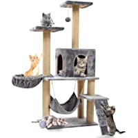 Cat Tree Tower with Scratching Post Plush Perch and Tunnel, Kitten Cat Condo House Furniture 55in (silver grey)
