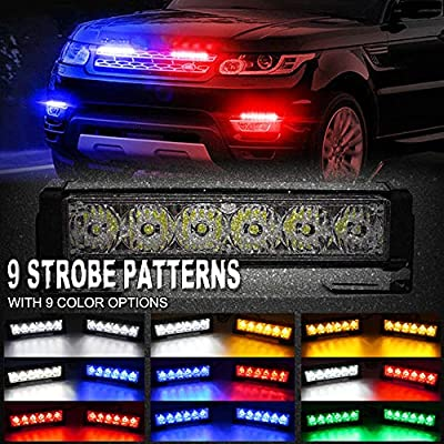 FOXCID 2 X 6 LED 9 Modes Traffic Advisor Emergency Warning Vehicle Strobe Lights for Interior Roof/Dash/Windshield/Grille/Deck Universal Waterproof (Green): Automotive