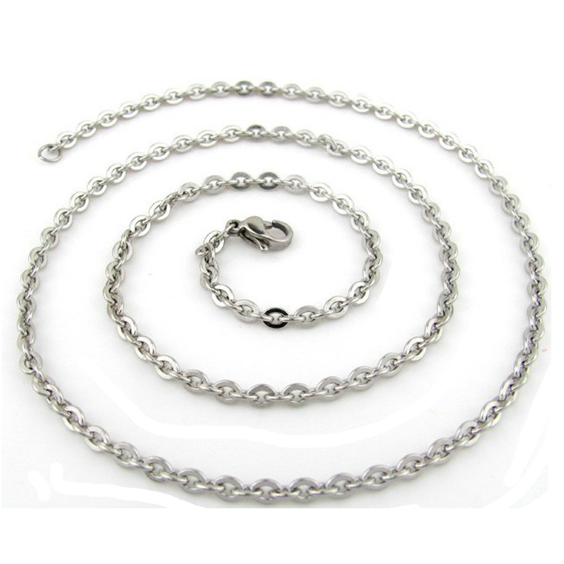 50pcs Wholesale Bulk Women's Silver Tone Stainless Steel Welding Rolo Necklace Chain 2mm No Fade