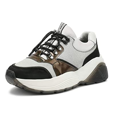 58caccc763a0ba Bronx Damen Weiß Schwarz Brookz Chunky Sneakers-UK 8  Amazon.de ...