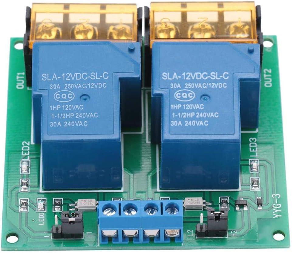 Módulo de relé, 30A YYG-3 DC 5V / 12V / 24V Módulo de relé de aislamiento de optoacoplador bidireccional bidireccional Control del sistema eléctrico(12VDC)