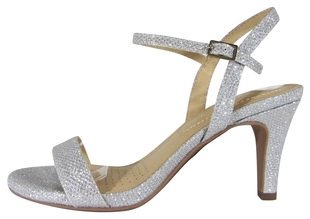 Cambridge Select Women's Open Toe Single Band Buckled Ankle Strappy Mid Heel Slingback Sandal (8 B(M) US, Silver Shimmer)