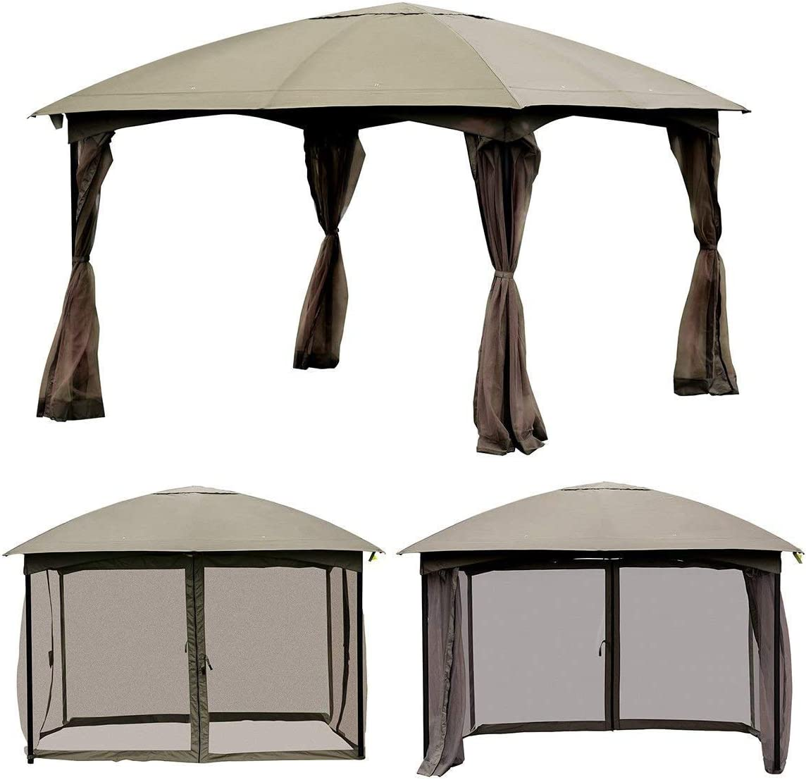 Tangkula Outdoor Gazebo 11.5 x 11.5 , Fully Enclosed Canopy Gazebo Tent with Removable 4 Walls, Suitable for Patio Garden Lawn Beach, with 133 Square Feet of Shade