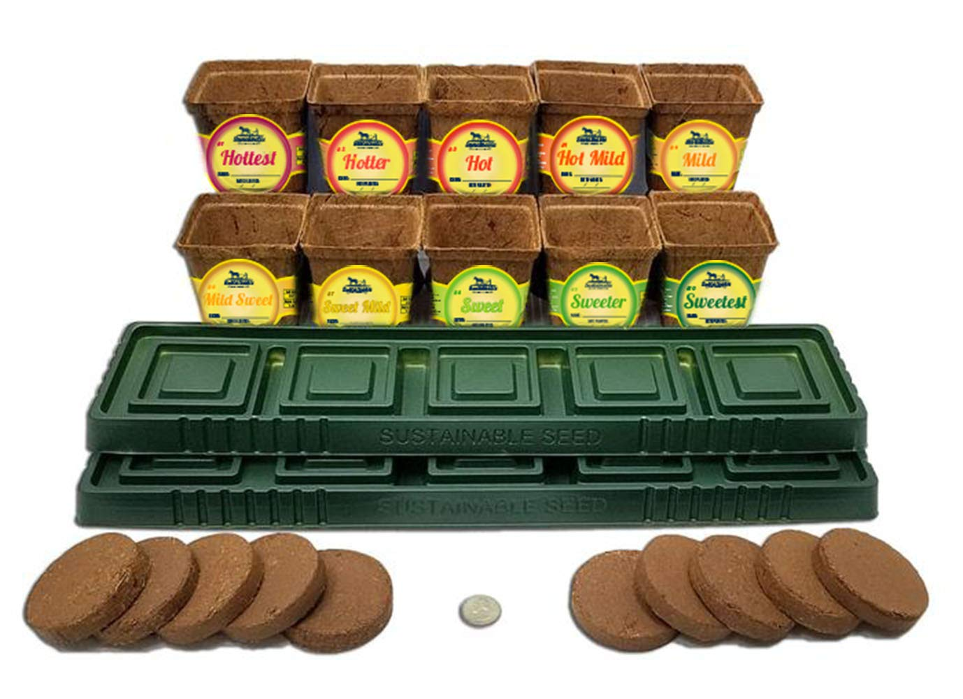 Windowsill Pepper Garden Kit, Pepper Planter Comes Complete with a 10 Variety Non GMO Heirloom Pepper Seed Collection & Pepper Pots by Sustainable Seed Company (Image #4)