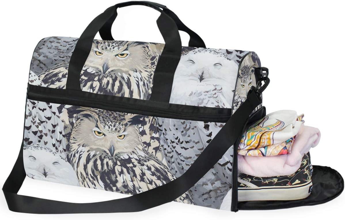 FANTAZIO Eagle Owl And Polar Sports Duffle Bag Gym Bag Travel Duffel with Adjustable Strap