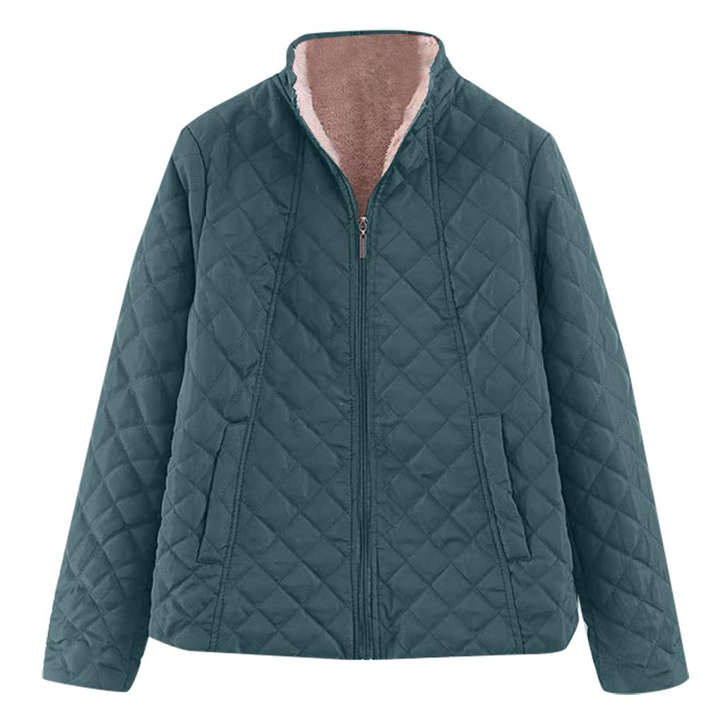 Spring Color  Women's Winter Diamond Long Sleeve Baseball Jacket Bomber Cotton Quilted Biker Zip Up Short Coat Green by 🍒 Spring Color 🍒