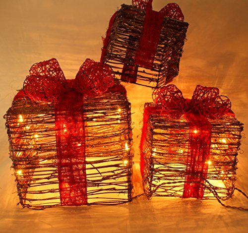 Lighted Christmas Boxes Outdoors