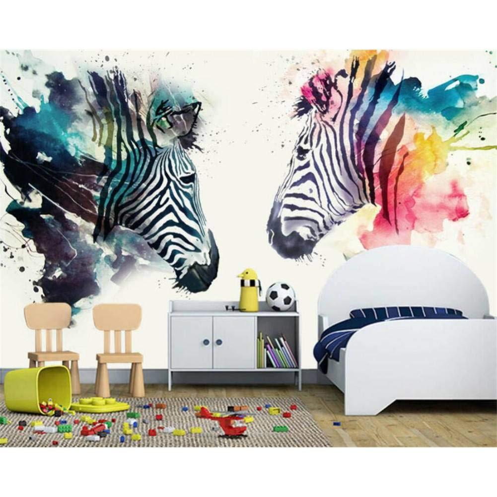 marca en liquidación de venta 250x175cm YYBHTM Mural del Dormitorio Pintado A Mano Acuarela Zebra Zebra Zebra Bar Café Fondo Parojo 3D Wallpaper  el más barato