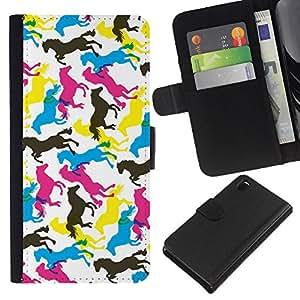 KingStore / Leather Etui en cuir / Sony Xperia Z3 D6603 / Caballos Arte colorido Random Wallpaper Caballo