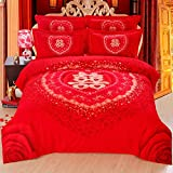 DHWM-The marriage Bed linen and cotton mill hair wedding 4 piece set, the red wedding linens is set, the wedding 4 piece ,1.8m