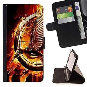 - ART MAGICAL FIRE STATUE RING MAGIC BIRD - - Prima caja de la PU billetera de cuero con ranuras para tarjetas, efectivo desmontable correa para l Funny HouseFOR Samsung Galaxy S4 Mini i9190