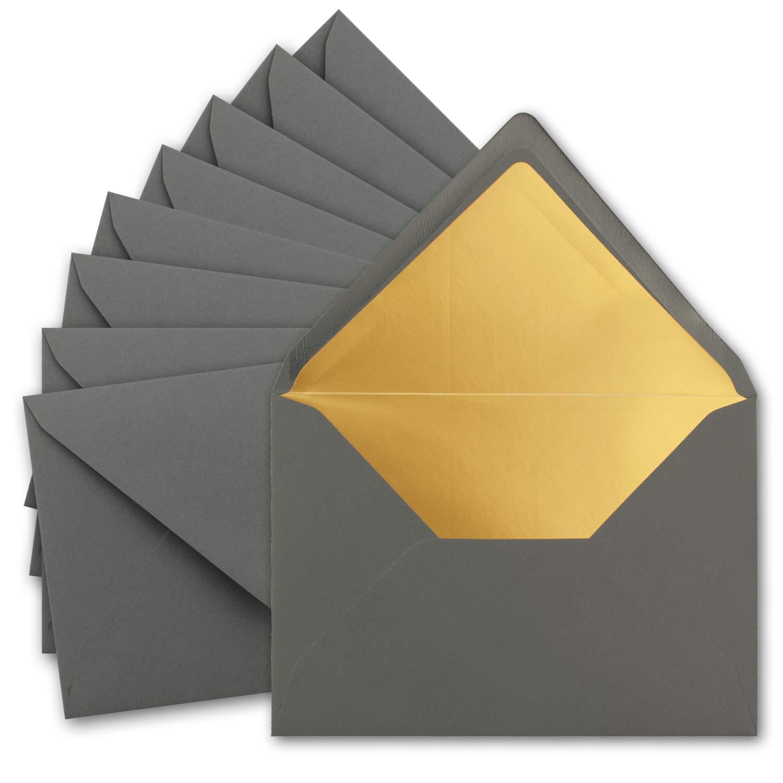 /Colore by Gustav neuser 50 Umschl/äge Anthrazit antracite/ Gold /gefuetterte lettere di buste formato C5 /incollaggio con patta Temperino/ /156/X 220/mm/ Oro metallizzato/