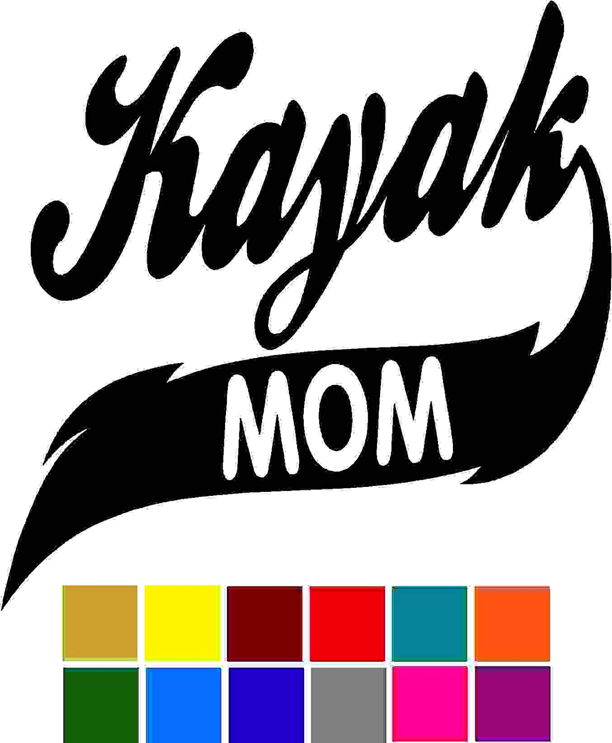 Sports Kayak Mom Decal Sticker Vinyl Car Window Tumblers Wall Laptops Cellphones Phones Tablets Ipads Helmets Motorcycles Computer Towers V and T Gifts