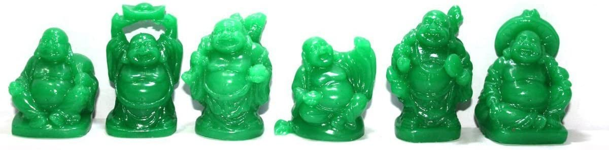 JapanBargain 3579, Set of 6 Jade Color Feng Shui Laughing Buddha Statue Figures Luck & Wealth