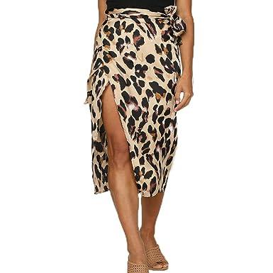 7d421623d9c8a7 Alexsix Skirt Women, Leopard Print Skirts High Waist Maxi Dress with Slit  Casual (S