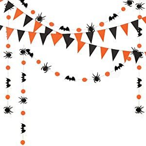 Halloween Birthday Decorations, Halloween Decor Kit, Hanging Decoration Set, Paper Pennant Flag, Spider/Circle dot/bat Bunting Banner Garland, 46 feet (Black/Orange) … …