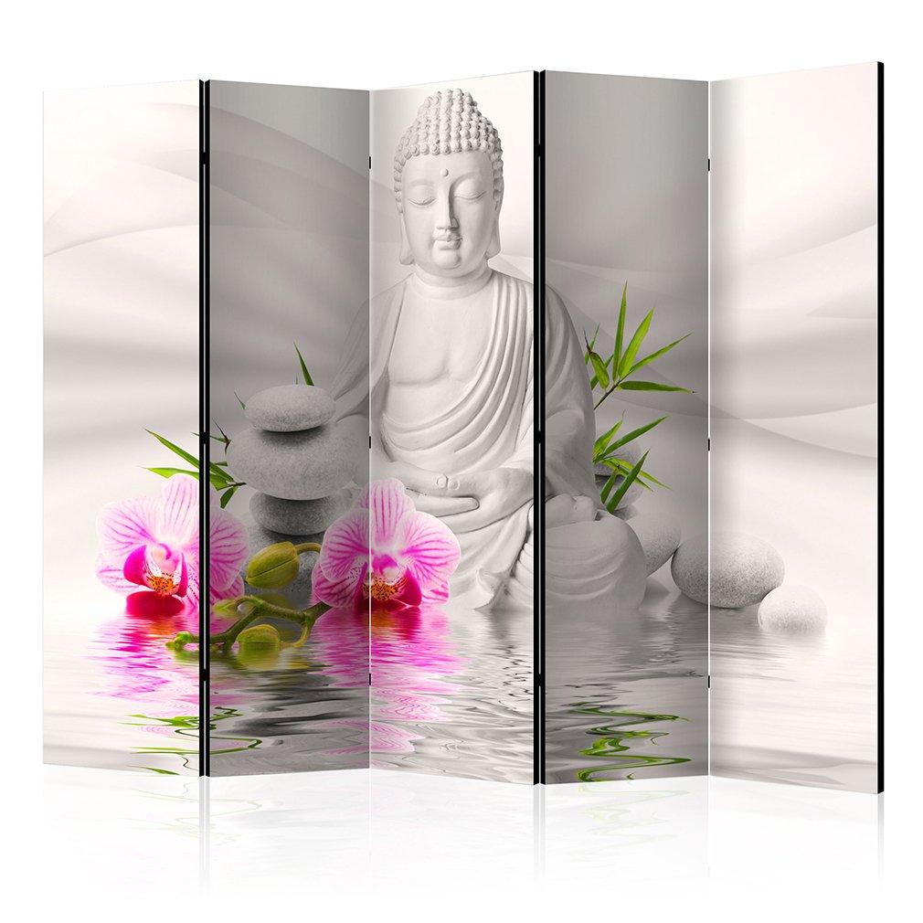 decomonkey Raumteiler Paravent Beidseitig XXL Buddha 225x172 cm 5 TLG. Trennwand Vlies Leinwand Raumtrenner Sichtschutz spanische Wand Blickdicht Textile Haptik Oriental Orchidee Rose Weiß
