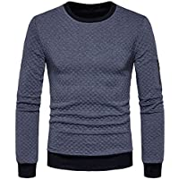 Challyhope Mens Autumn Winter Plaid Hedging Sweatshirt Casual Pullover Blouse Tops
