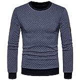 Ulanda Mens Plaid Sweatshirt Long Sleeve Pullover T-Shirt Sweater Tops Slim fit Sweatshirt