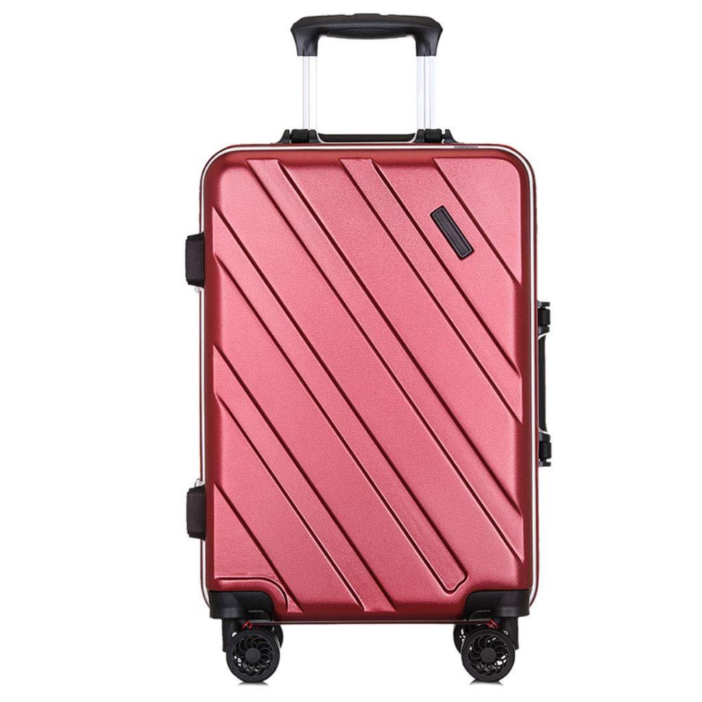 ファッションのアルミニウムフレームトロリーケースサイレントユニバーサル車のスーツケースの搭乗ケース。 (Color : Burgundy, Size : 24 inches)   B07RLHJZ54