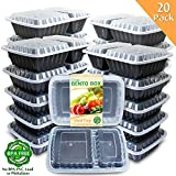 Enther [20 Pack] 2 Compartment Meal Prep Containers with Lids,Premium Food Storage Bento Boxes, BPA Free, Stackable,Reusable Lunch Box, Microwave/Dishwasher/Freezer Safe,Portion Control (32 oz)