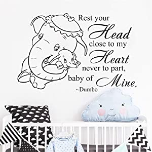 Dumbo Quote Wall Decals - Rest Your Head Close to My Heart - Vinyl Sticker Baby Playroom Art Poster Kids Home Nursery Kids Room Playroom Bedroom Art Decoration Animal Decor (Black)