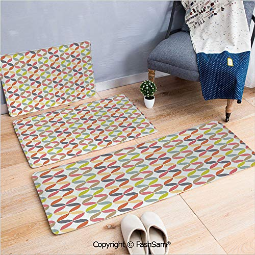 (FashSam 3 Piece Flannel Bath Carpet Non Slip Decorative Ornament Vintage Connected Arcs Intersecting Centre Discs Front Door Mats Rugs for Home(W15.7xL23.6 by W19.6xL31.5 by W19.6xL59))