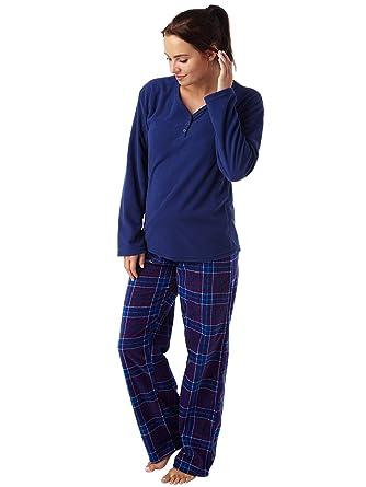 Ladies Geometric Print Warm Supersoft Fleece Pyjama Geo Navy or Navy ... 37d3e5c99