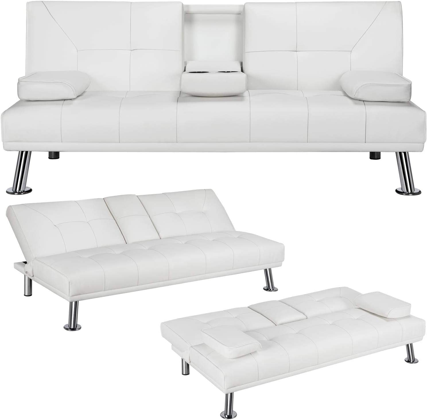 Amazon.com: YAHEETECH Futon Sofa Bed Sleeper Sofa Modern Faux Leather Futon Convertible Sofa With Armrest Home Recliner Couch Home Furniture White: Home & Kitchen