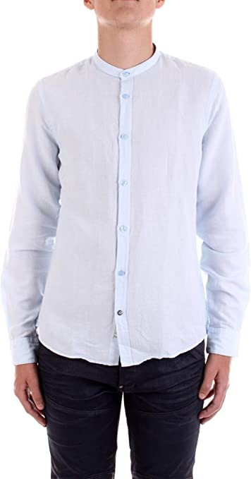 Fred Mello Camisa Serafino Lino Hombre Camisas, azul celeste, M: Amazon.es: Deportes y aire libre