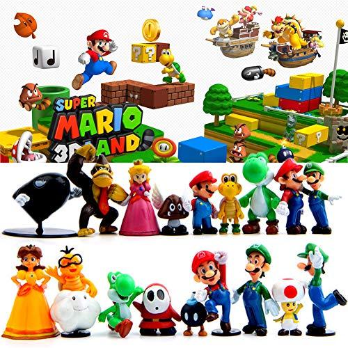TOYFORU 18 Pcs Super Mario Brothers Birthay Cake Toppers, Super Mary Princess, Turtle, Mushroom, Orangutan, Super Mary Action Figures(1.2