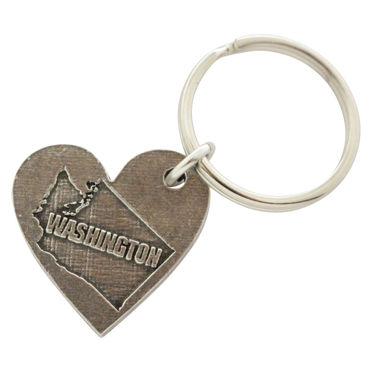 Creative Pewter Designs, Pewter Washington Heart Shape Key Chain, Antiqued Finish, A1016KC