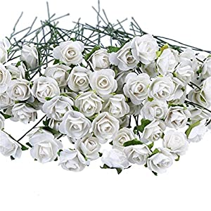 CCINEE 100pcs White Mini Paper Flowers Artificial Paper Flowers for Crafts and Decoration 18mm 115