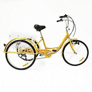 "FLYHERO Triciclo Amarillo para Adultos, 24""3 Ruedas, 6 velocidades, Bicicleta de"