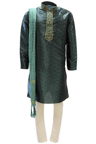 MKP3147 verde oscuro y el oro de los hombres de Kurta pijama Indian Suit Bollywood Sherwani