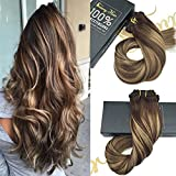 "Sunny Ombre Clip In Human Hair Extensions 24"" 9PCS 140G Chocolate Brown Fade to Honey Blonde Balayage Dip-Dye Color Remy Clip In Hair Extensions Double Weft"