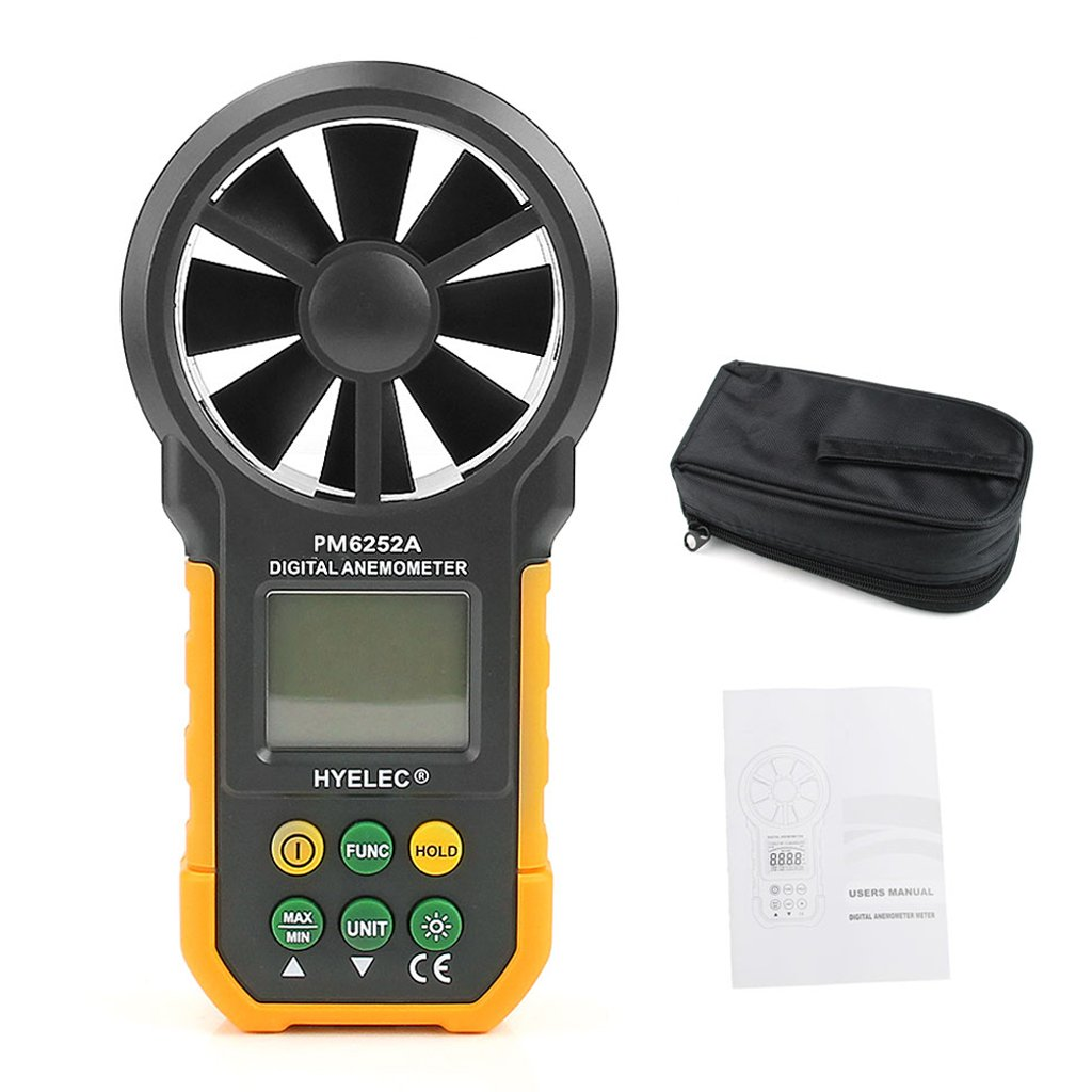 YUNAWU 1set High Accuracy Digital Air Speed Anemometer/Air Volume/Air Flow Test Meter for HYELEC MS6252A by YUNAWU (Image #1)
