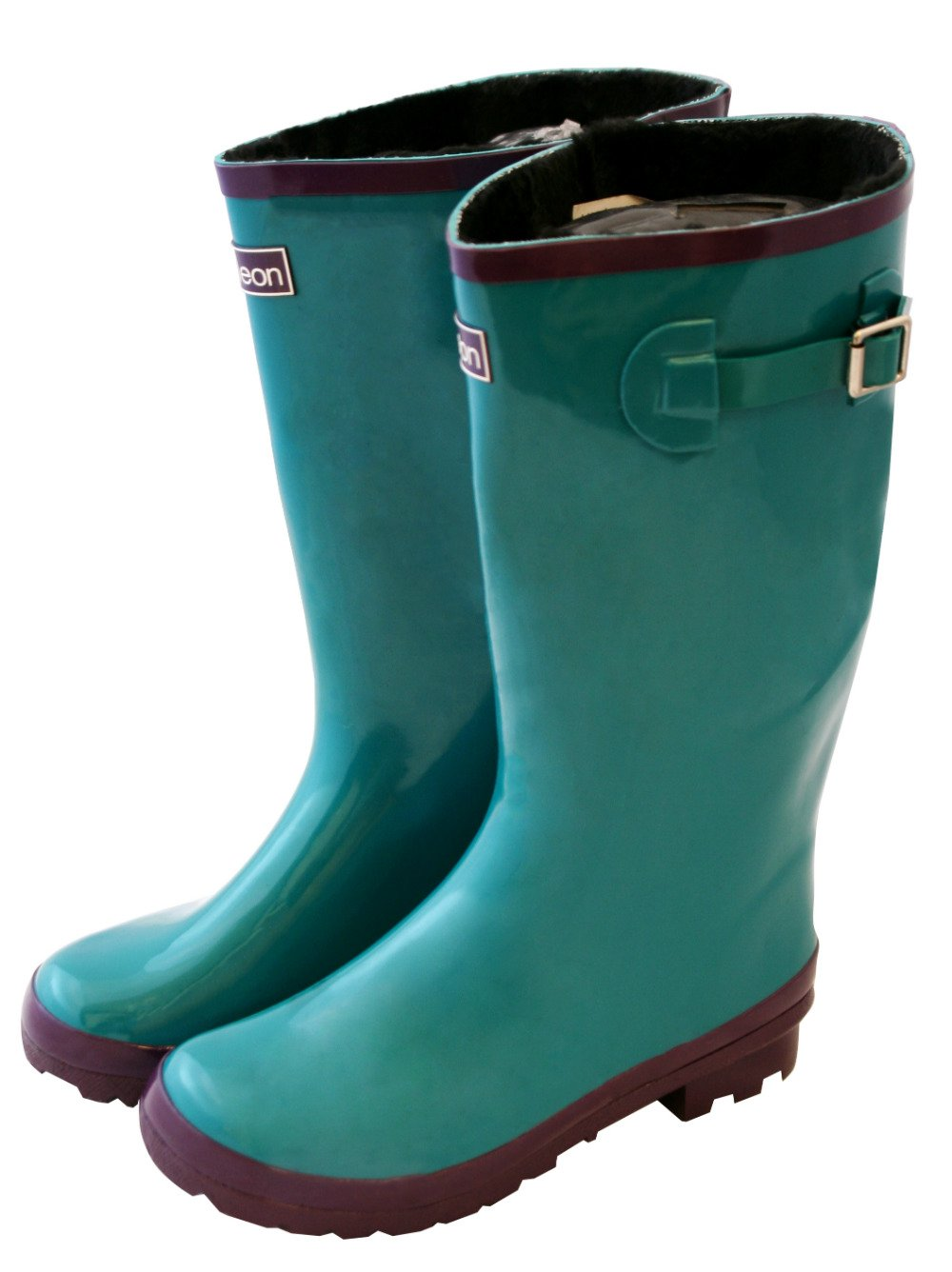 Jileon Wide Calf All Weather Durable Rubber Rain Boots for Women-Fits Calf Sizes up to 18 inches B00SLMCV60 7 W (Wide) US|Glossy Teal Blue